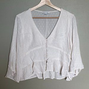 American Eagle cream swiss dot bell sleeve blouse size large